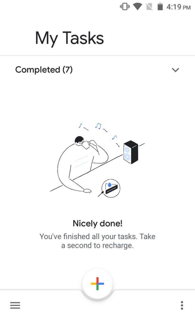 Clearing Tasks Screen - Google Tasks