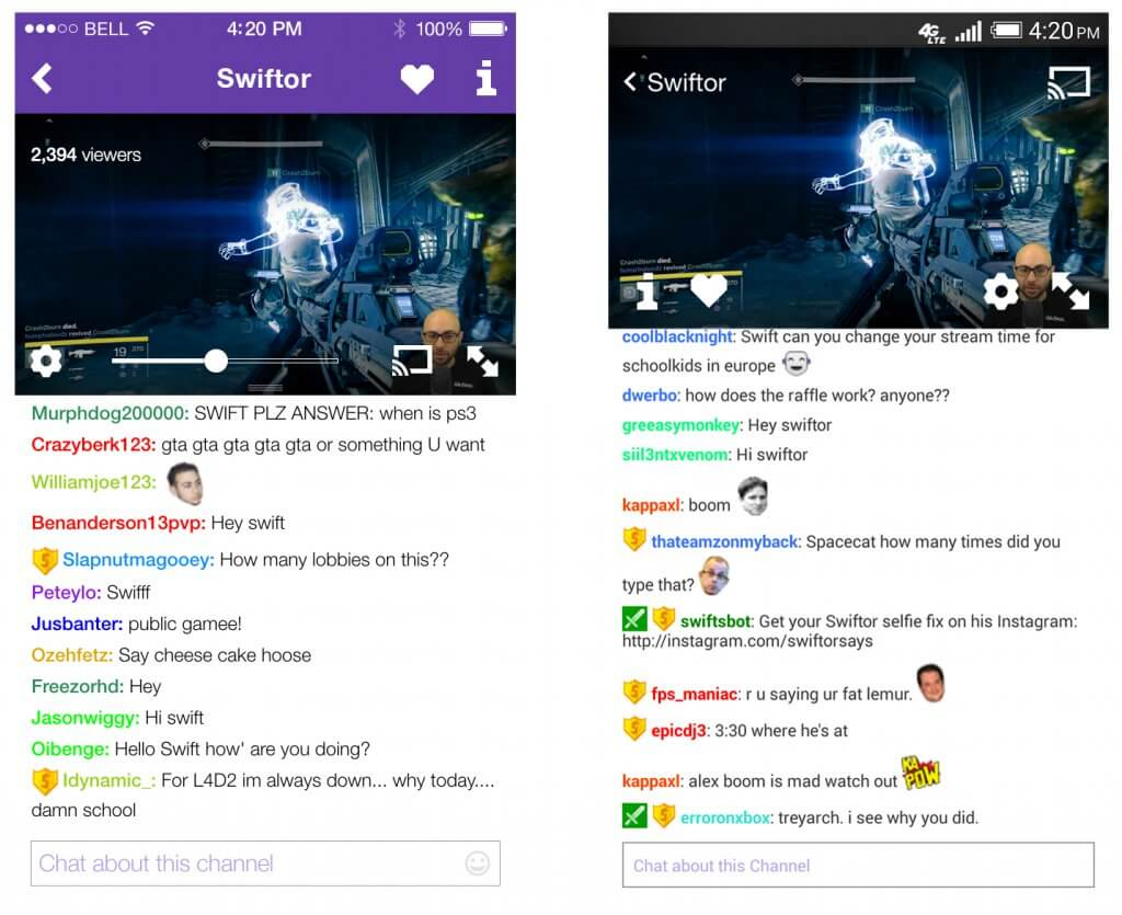 react native performance with live video and chat Twitch