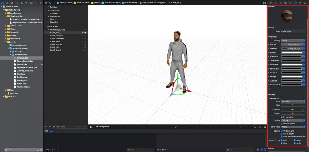 3D model preview in Xcode
