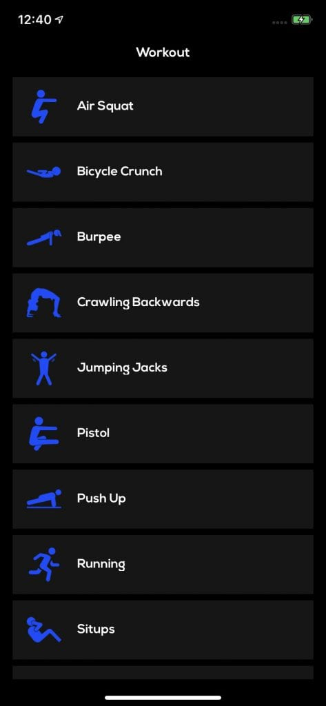 Workout list fitness app