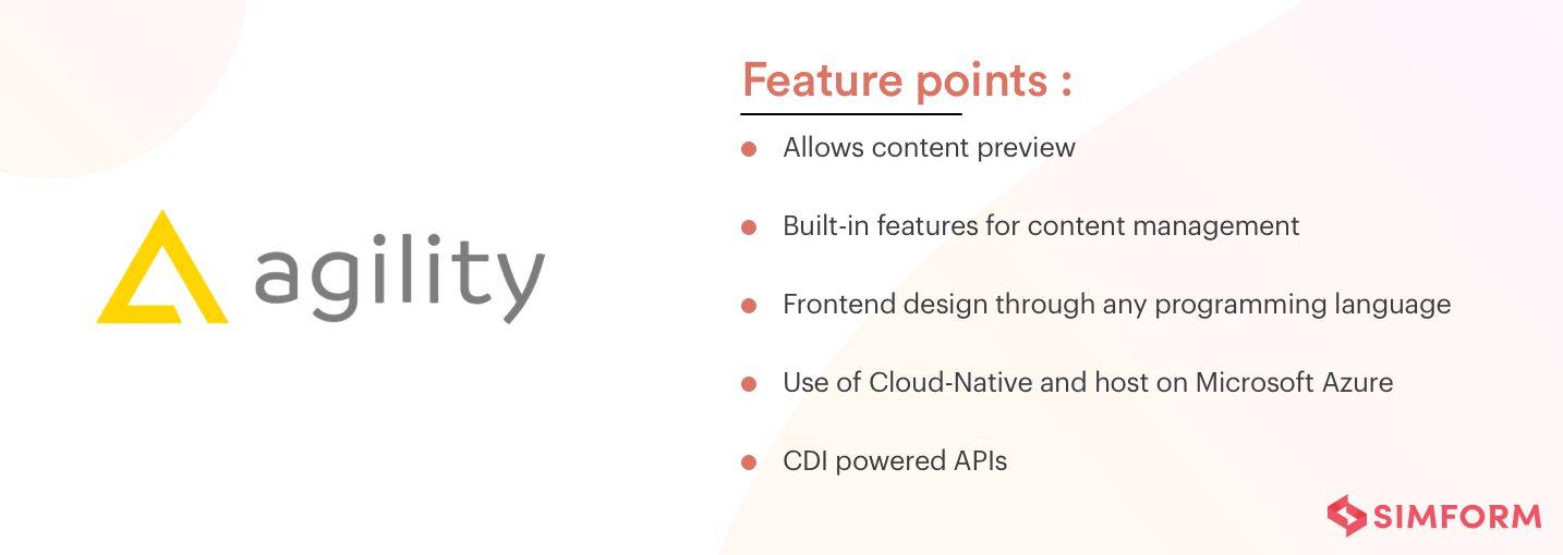 Features of Agility CMS as a headless CMS