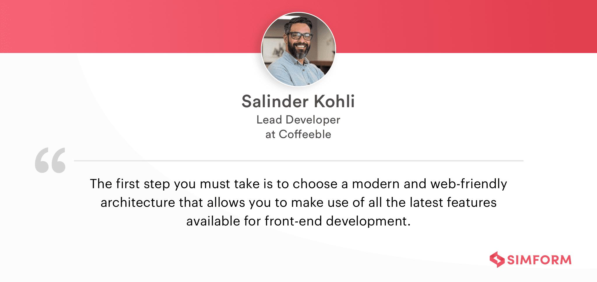 Salinder Kohli on front-end architecture
